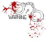 Χειροπέδη με τις κόκκινες πτώσεις αίματος Απεικόνιση αποθεμάτων