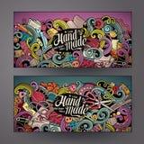 Χειροποίητα εμβλήματα doodles κινούμενων σχεδίων διανυσματικά Στοκ Φωτογραφία