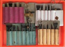 Χειροποίητα εργαλεία έργου τέχνης δέρματος Στοκ Φωτογραφία