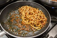 Χειροποίητα ζυμαρικά Pici Τοσκάνη στοκ εικόνα