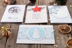Χειροποίητες κάρτες Χριστουγέννων Στοκ εικόνα με δικαίωμα ελεύθερης χρήσης