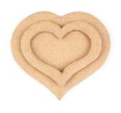 Χειροποίητες καρδιές applique φιαγμένες από χαρτόνι Στοκ φωτογραφία με δικαίωμα ελεύθερης χρήσης