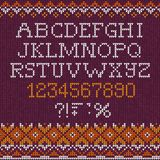 Χειροποίητες πλεκτές αφηρημένες επιστολές αλφάβητου πηγών σχεδίων υποβάθρου abc, αριθμοί, διανυσματική απεικόνιση