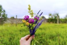 Χειροποίητη ανθοδέσμη λουλουδιών σε ένα χέρι κοριτσιών Στοκ εικόνες με δικαίωμα ελεύθερης χρήσης