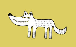 Χειροποίητη απεικόνιση μελανιού λύκων Στοκ Εικόνες