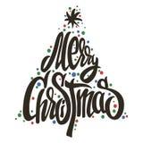 Χειροποίητη εγγραφή δέντρων Χαρούμενα Χριστούγεννας Στοκ Φωτογραφίες