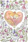 Χειροποίητη ευχετήρια κάρτα watercolor αγάπης καρδιών αλεπούδων στοκ εικόνα με δικαίωμα ελεύθερης χρήσης