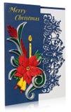 Χειροποίητη κάρτα Χριστουγέννων με τους χαιρετισμούς Χαρούμενα Χριστούγεννας και poins Στοκ Εικόνα