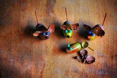 Χειροποίητος ξύλινος πίνακας βελανιδιών ποντικιών Στοκ Εικόνες
