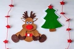Χειροποίητος τάρανδος του Rudolph Χριστουγέννων ευχετήριων καρτών Στοκ Εικόνα