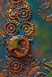 Χειροποίητος steampunk μηχανισμός ροδών βαραίνω υποβάθρου μηχανικός στοκ φωτογραφίες