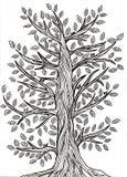 Χειροποίητο γραφικό σχέδιο ενός δέντρου με τα φύλλα Ελεύθερη απεικόνιση δικαιώματος
