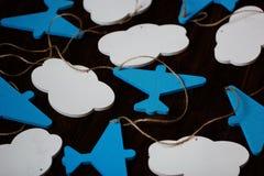 Χειροποίητο ντεκόρ αεροπλάνων, ντεκόρ δωματίων παιδιών Δώρο ντους μωρών Στοκ Εικόνα