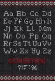 Χειροποίητο πλεκτό αφηρημένο σχέδιο υποβάθρου με το αλφάβητο, uppe Στοκ φωτογραφία με δικαίωμα ελεύθερης χρήσης