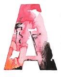 Χειροποίητο σχέδιο αλφάβητου watercolor Στοκ Εικόνα