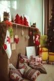 Χειροποίητο δωμάτιο ντεκόρ Χριστουγέννων Στοκ Φωτογραφίες