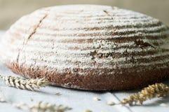 Χειροτεχνικοί ψωμί και σίτος μαγιάς στην πετσέτα κουζινών Στοκ Φωτογραφία