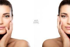 Χειρουργική επέμβαση και αντι έννοια γήρανσης Δύο μισά πορτρέτα προσώπου στοκ φωτογραφία