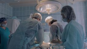 Χειρουργική ομάδα στο στάδιο της χειρουργικής επέμβασης του reimplantation απόθεμα βίντεο
