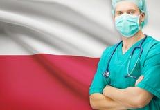 Χειρούργος με τη εθνική σημαία στη σειρά υποβάθρου - Πολωνία Στοκ φωτογραφία με δικαίωμα ελεύθερης χρήσης
