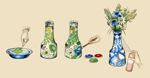 Χειρωνακτική απεικόνιση διακοσμήσεων βάζων -αυτός-ο ίδιος Στοκ Φωτογραφίες