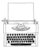 χειρωνακτική γραφομηχανή της δεκαετίας του '70 γραπτή με τη γραμμή AR εγγράφου ελεύθερη απεικόνιση δικαιώματος