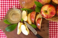 Χειρωνακτική προετοιμασία του υγιούς οργανικού ξιδιού μηλίτη μήλων στοκ φωτογραφίες