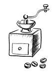 Χειρωνακτικός μύλος καφέ με τα φασόλια διανυσματική απεικόνιση