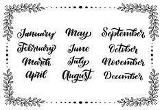 Χειρόγραφα ονόματα των μηνών: Ιανουάριος Δεκεμβρίου, Φεβρουάριος, Μάρτιος, Απρίλιος, Μάιος, Ιούνιος, Ιούλιος, Αύγουστος Σεπτέμβρι διανυσματική απεικόνιση