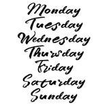 Χειρόγραφες ημέρες εβδομάδας Σύγχρονη καλλιγραφία βουρτσών διανυσματική απεικόνιση