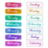 Χειρόγραφες ημέρες της εβδομάδας διανυσματική απεικόνιση