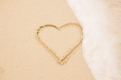 χειρόγραφη άμμος καρδιών Στοκ Εικόνα