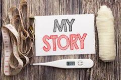 Χειρόγραφο κείμενο που παρουσιάζει ιστορία μου Η έννοια υγείας επιχειρησιακής ικανότητας που γράφει για την αφήγηση λέει για σας  στοκ εικόνα με δικαίωμα ελεύθερης χρήσης
