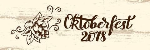 Χειρόγραφο κείμενο Oktoberfest φεστιβάλ μπύρας του Μόναχου με την απεικόνιση τέχνης γραμμών των κεφαλιών σίτου και των κώνων λυκί Στοκ εικόνα με δικαίωμα ελεύθερης χρήσης