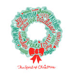 Χειρόγραφο σχέδιο σύννεφων του Word καρτών στεφανιών Χριστουγέννων Στοκ εικόνα με δικαίωμα ελεύθερης χρήσης