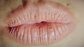 Χειλικό κορίτσι Κινηματογράφηση σε πρώτο πλάνο φιλί απόθεμα βίντεο