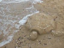 Χελώνα άμμου στην παραλία στοκ εικόνα