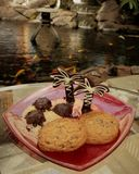 Χελώνες σοκολάτας και φοίνικες σε μια παραλία ζάχαρης με τα μπισκότα σε ένα κόκκινο πιάτο γυαλιού και ένα σκηνικό ενός ασιατικού  στοκ εικόνα