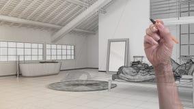 Χεριών σχεδίων ανοιχτός χώρος σοφιτών συνήθειας σύγχρονος μινιμαλιστικός Σκανδιναβικός με την κρεβατοκάμαρα και το λουτρό Προσαρμ στοκ φωτογραφία με δικαίωμα ελεύθερης χρήσης