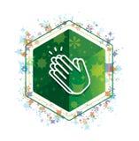 Χεριών χειροκροτήματος πράσινο hexagon κουμπί σχεδίων εγκαταστάσεων εικονιδίων floral ελεύθερη απεικόνιση δικαιώματος