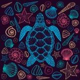 Χελώνα και κοχύλια θάλασσας στο ύφος τέχνης γραμμών Συρμένη χέρι διανυσματική απεικόνιση απεικόνιση αποθεμάτων