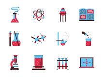 Χημεία Επίπεδα εικονίδια χρώματος επιστήμης Στοκ Εικόνα