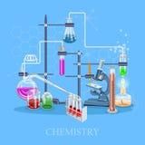 Χημεία και επιστήμη infographic Υπόβαθρο εικονιδίων χημείας για τις αφίσες της βιολογίας και ιατρικής έρευνας διανυσματική απεικόνιση