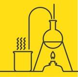 Χημεία με τον εξοπλισμό δοκιμής και έρευνας εργαστηρίων ελεύθερη απεικόνιση δικαιώματος