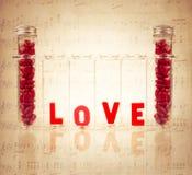 Χημεία της ζωηρόχρωμης έννοιας αγάπης Στοκ Εικόνα