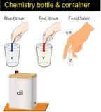 Χημεία - conteiners και litmus διανυσματική απεικόνιση