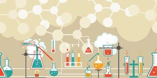 Χημεία infographic σε ένα άνευ ραφής σχέδιο ελεύθερη απεικόνιση δικαιώματος
