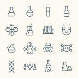 Χημικά εικονίδια γραμμών ελεύθερη απεικόνιση δικαιώματος