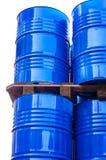 Χημικές δεξαμενές που αποθηκεύονται στην αποθήκευση των αποβλήτων Στοκ Φωτογραφία