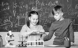 Χημική ανάλυση Χημεία μελέτης παιδιών Μάθημα σχολικής χημείας Σχολικό εργαστήριο r Κορίτσι και αγόρι στοκ φωτογραφίες με δικαίωμα ελεύθερης χρήσης
